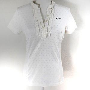 T454 Nike Fit Dry White Burnout Polka Dot Ruffle